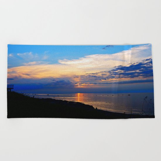 Sunset Balcony silhouette Beach Towel