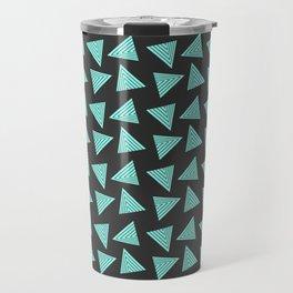 black cyan pattern Travel Mug