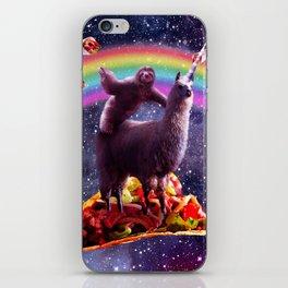 Space Sloth Riding Llama Unicorn - Taco & Burrito iPhone Skin