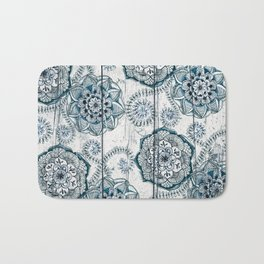 Navy Blue Floral Doodles on Wood Bath Mat