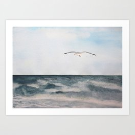 Seagull flying over the Ocean Watercolor Art Art Print