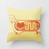 I heart sausage dogs Throw Pillow