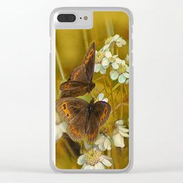 Summery Butterflies on Gold Clear iPhone Case