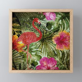 Tropical Vintage Exotic Jungle- Floral and Flamingo watercolor pattern Framed Mini Art Print