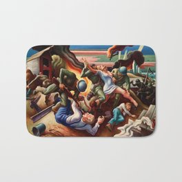Classical Masterpiece 'WWII Depiction - Blood and Fire' by Thomas Hart Benton Bath Mat
