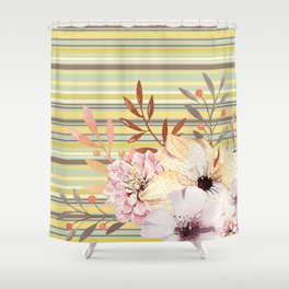 Floral Spring Stripes Shower Curtain