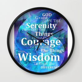 Blue Nautilus Shell Serenity Prayer Art - Sharon Cummings Wall Clock