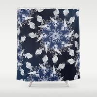 damask Shower Curtains featuring Damask blue by /CAM