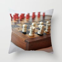 chess Throw Pillows featuring Chess by Melancholy & Menace