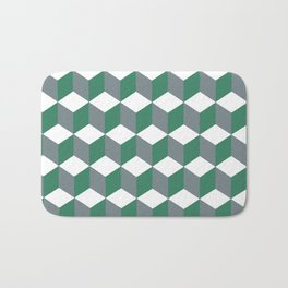 Diamond Repeating Pattern In Quetzal Green and Grey Bath Mat