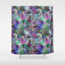 Abstract Swirls Deep Rich Jewel Tones Digital Design Shower Curtain