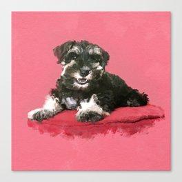 Miniature Schnauzer Puppy Watercolor Digital Art Canvas Print