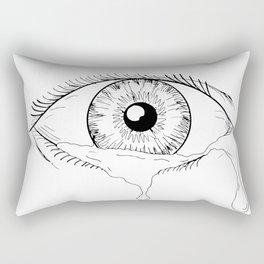 Human Eye Crying Tears Flowing Drawing Rectangular Pillow