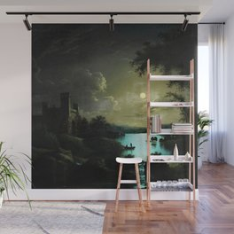 Classical Masteripiece 'A Castle and Lake by Moonlight' by Abraham Pether Wall Mural