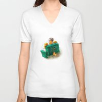 sofa V-neck T-shirts featuring Family sofa by Bakal Evgeny