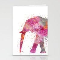 artsy Stationery Cards featuring Artsy Elephant by LebensART