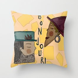 chitchat in France Throw Pillow