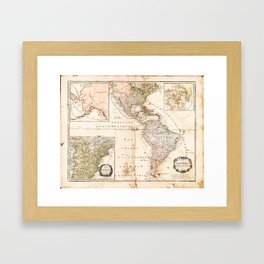 North and South America Map (1795) Framed Art Print