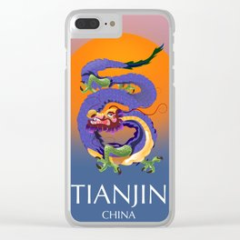 Tianjin China Dragon travel poster Clear iPhone Case