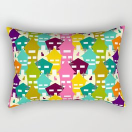 Colorful houses and cats Rectangular Pillow