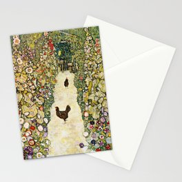 Gustav Klimt Garden Path With Chickens Stationery Cards