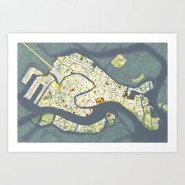 Venice city map antique Art Print