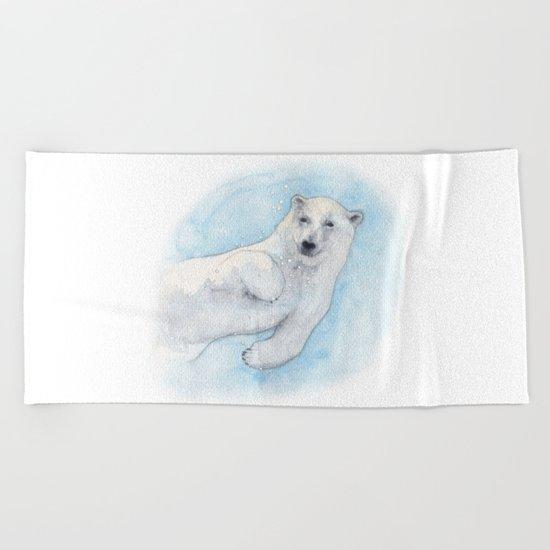 Polar bear underwater Beach Towel