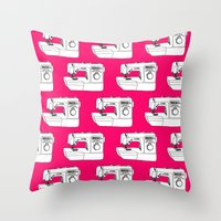 sewing Throw Pillows featuring Sewing Machine by The Wellington Boot