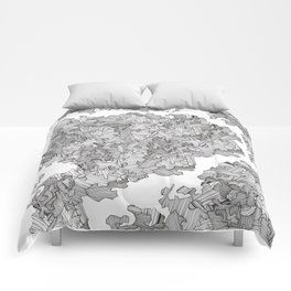 Abstract maze white Comforters