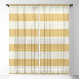 Yellow Stripes Bold Sheer Curtain