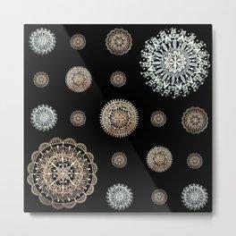 Asymmetric Silver and Rose-Gold Mandala Textile Metal Print