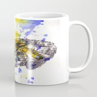 millenium falcon Mugs featuring Star Wars Millenium Falcon  by idillard