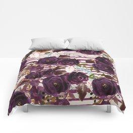 Watercolor ivory purple burgundy brown floral stripes Comforters