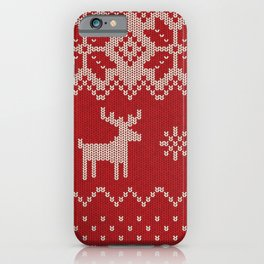 Christmas pattern knitting handmade scandinavian iIllustration with reindeer and heart iPhone Case