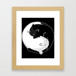 Yin Yang Cats Framed Art Print
