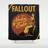 coca cola Shower Curtains featuring Nuka Cola by sgrunfo