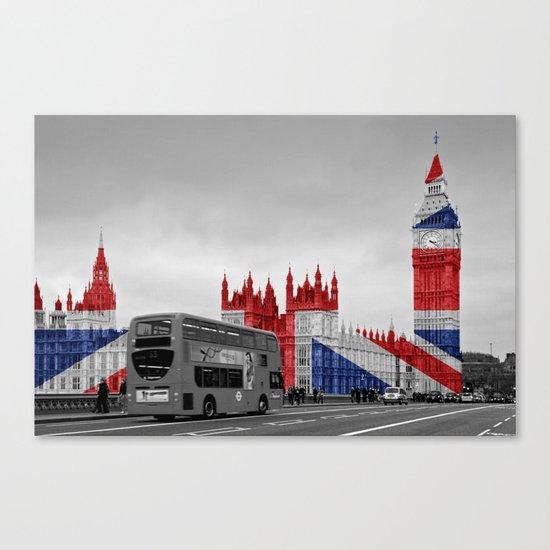 Big Ben, London Bus and Union Jack Flag Canvas Print