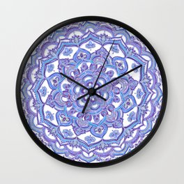 Lilac Spring Mandala - floral doodle pattern in purple & white Wall Clock