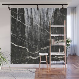 Misty Wet Black Marble Pattern With White Veins Wall Mural