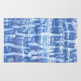 Steel blue blurred aquarelle Rug