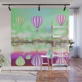 Pastel Hot Air Balloons Over Lake Digital Drawing Wall Mural
