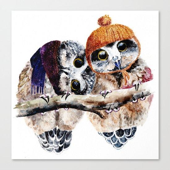 Winter Owls Canvas Print