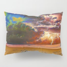 Rage Over The Ocean | Storm Beach Lightening - Oil Painting Pillow Sham