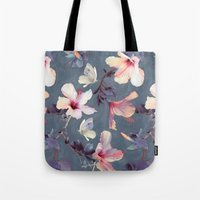 indigo Tote Bags featuring Butterflies and Hibiscus Flowers - a painted pattern by micklyn