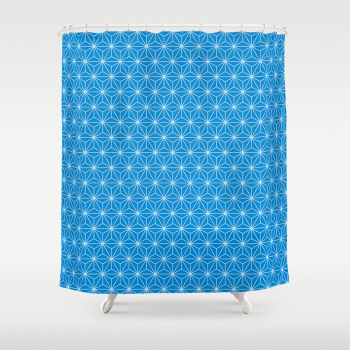 Blue Japanese Hemp Kimono Pattern Shower Curtain