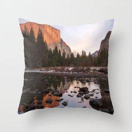 Yosemite - El Capitan & Merced River - Sunset in Winter Throw Pillow