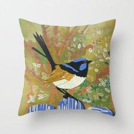 Superb Fairy Wren Throw Pillow