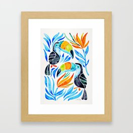 Tropical Toucans – Blue Leaves Framed Art Print