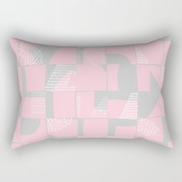 Blush and Gray Typographical Fragments Cheater Quilt Rectangular Pillow