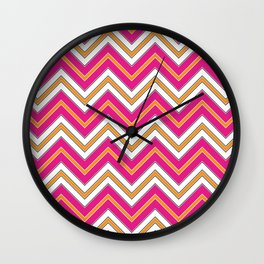 Chevron Pattern | Zig Zags | Pink, Orange, Black and White | Wall Clock